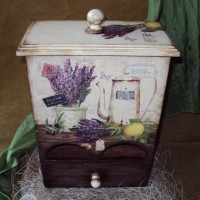 "Чайный комод с ящичком ""Лаванда и лимон"" / Tea chest with drawer ""Lavender and lemon"""