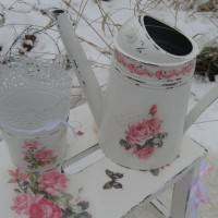 "Лейка и кашпо в стиле шебби-шик ""Розы на снегу"" / Flower watering and pots in the style of the shebbie-chic ""Roses in the snow"""